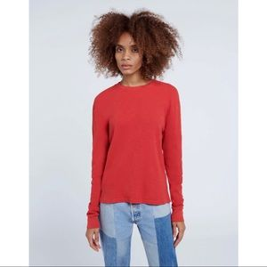 NWT Re/Done Hanes Red Thermal Long Sleeve Top